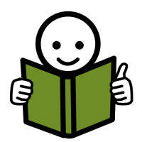 Piirroskuvasta hahmosta, joka lukee kirjaa.