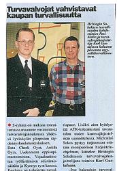 Helsingin Sokoksen turvallisuuden kohde-esimies Pasi Malin ja turvavalvojaharjoittelija Karl Gustafsson haluavat panostaa myymäläturvallisuuteen.