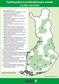 Suomen kartta - kuntakokeilukuntien alueet merkitty vihreällä.