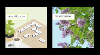 Kahden esitteen kannet vierekkäin, kansissa mm. dominonappuloita ja toisessa lähikuva syreenistä.