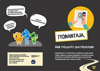 Työnantaja-esitteen etu- ja takakansi. Musta tausta, värikkäitä hahmoja, tekstiä ja Vatesin logo.