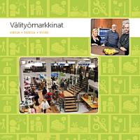 Välityömarkkinat esitteen kansi jossa kuva mm. kierrätyskeskuksen tiloista.