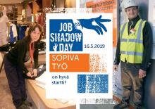 Job Shadow Day -esite, jossa kaksi ihmistä kannessa sekä logo