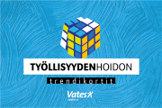Työliisyydenhoidon trendikortit -kansi, rubikinkuutio sinisenkirjavalla pohjalla. Vatesin logo.