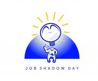 Syttyvä lamppu, hahmo sininen tausta, Job Shadow Day teksti.