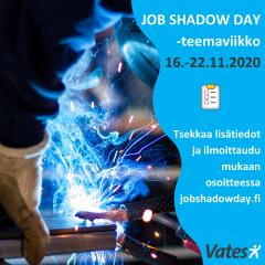 Kuvituskuva jossa JSD-teemaviikon ajankohta ja teksti tsekkaa lisätietot ja ilmoittaudu osoitteessa jobshadowday.fi.