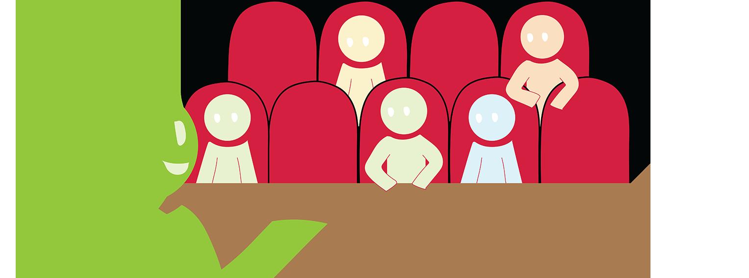 Piirroskuva auditoriosta.