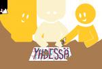 Piirroskuva yhdessä - kolme keltaista hahmoa palapelin ääressä