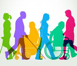 Piirroskuva. Ihmisiä kävelemässä erilaisten apuvälineiden kanssa.