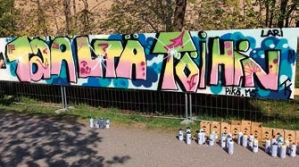 Värikäs Graffitiseinä.