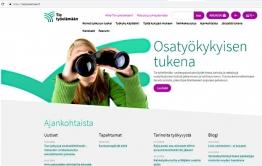 Kuvakaappaus Tie työelämään -sivuston etusivusta.