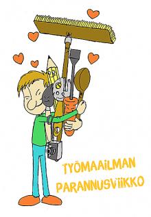 Työmaailman parannusviikon logo, jossa vihreäpaitainen, sinihousuinen poika halaa harjaa, kauhaa, kynää ja ruuvimeisseliä. Logon tekijä on Lasse Siitonen