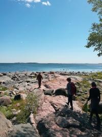 Vates-säätiön viestintäverkosto teki kävelyretken Skatan tilalta rantaan.