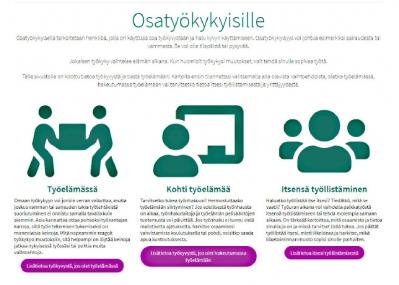 Kuvakaappaus Tie työelämään -nettisivuilta.
