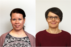 Kirjoittajien kasvokuvat, Johanna vasemmalla ja Matleena oikealla. Molemmat tummatukkaisia.
