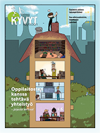 Aluetoiminnan Extra-Lehden piirroskansi, jossa nelikerroksisen talon läpileikkaus ja ihmisiä eri kerroksissa sekä nokisutari katolla.