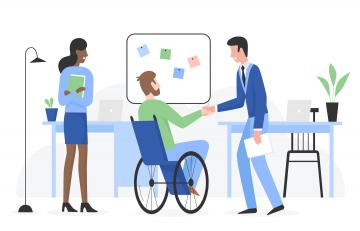 Kaksi miestä, toinen pyörätuolissa ja nainen.