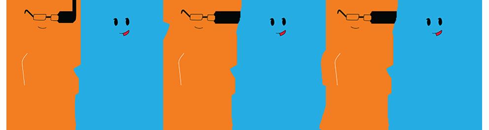 Kolme oranssia ja kolme sinistä Vates-hahmo käsi kädessä.