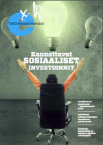 """Työllistämisinvestoinnit extran kansikuva, jossa lukee """"kannattavat sosiaaliset investoinnit"""", linkki lehden pdf-tiedostoon.."""