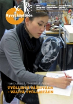 kuva naisesta työllistämisyksikön ompelimossa ja linkki lehden pdf-tiedostoon.