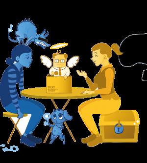 Kaksi naista, toinen istuu tuolilla ja on surullisen näköinen, toinen istuu aarrearkulla ja antaa neuvoja.