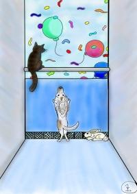 Kissa ikkunalaudalla, koira ja kani lattialla jaja ilmapalloja ikkunan ulkopuolella,piirroskuva.