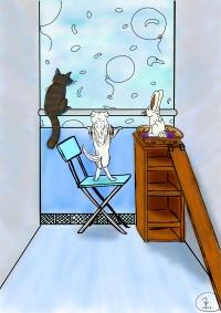 Kissa ikkunalaudalla, koira tuolilla ja kani korkean kaapin päällä, Piirroskuva.