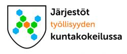 Vaakuna, neljä sinistä, neljä vihreää ja yksi oranssi monikulmio, teksti Järjestöt työllisyyden kuntakokeilussa.