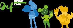 Kolme eriväristä hahmoa, sininen, vihreä ja keltainen kasveja kädessä.