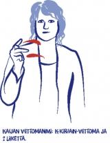 Viittoma, jossa nainen viittoo K-kirjaimen.