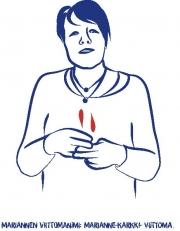 """Viittoma, jossa nainen viittoo sanan """"karkki"""" taputtamalla oikean käden etu- ja keskisormella vasemman käden etu- ja keskisormea vaakatasossa."""