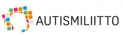 Autismiliiton logo, jossa tekstin lisäksi vasemmalla erivärisiä neliöitä.