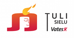 Uusi tulisielulogió - keltainen liekki, Tulisielu-teksti, Vates-logo.