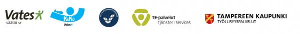 Vatesin KeKo-hankkeen, Pirkanmaan TE-toimiston ja Tampereen kaupungin työllisyyspalvelujen logot