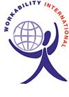 Workability Internationali logo: Ihmishahmo pallo olkapäällä
