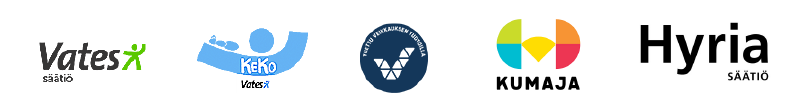 Logoja: vates-säätiö, KeKo, Veikkaus, Kumaja, Hyria säätiö