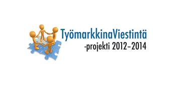 Työmarkkinaviestintä-projekti logo, 4 ukkoa palapelin päällä piirissä kädet kädessä.