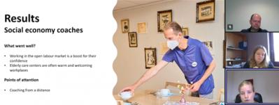 Results-teksti, vieressä kuva kahvipöydän kattajasta maski kasvoilla ja teams näkymä kolmesta henkilöstä.