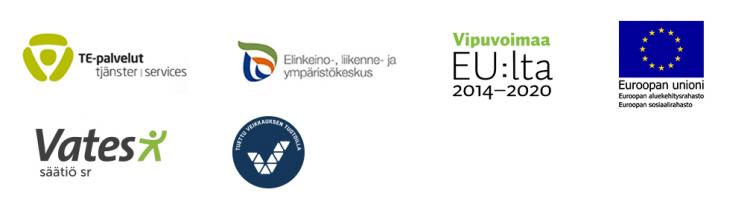 kuusi logoa, joissa Vates, TE-keskus, ELY-keskus ja rahoittajien logot.
