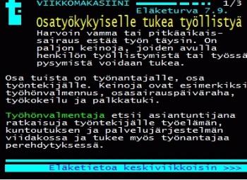 Kuvakaappaus yle testi-tv:n sivuilta, kuvassa  valkoista tekstiä mustalla pohjalla.