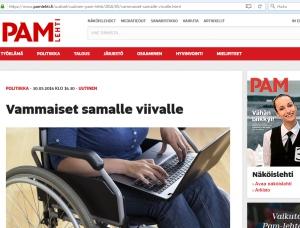 PAM kirjoittaa vammaissopimuksesta