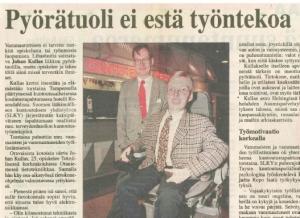 Pyörätuoli ei estä työntekoa (Aamulehti 1996)