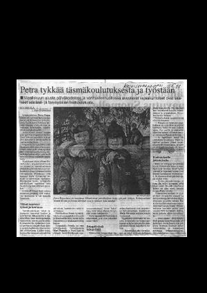 Petra tykkää täsmäkoulutuksesta ja työstään (Keski-Suomalainen 1998)