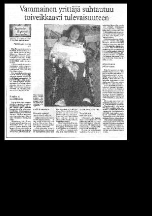 Vammainen yrittäjä suhtautuu toiveikkaasti tulevaisuuteen (Länsi-Savo 1997)