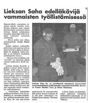 Lieksan Saha edelläkävijä vammaisten työllistämisessä (Lieksanlehti 1997)