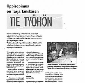 Oppisopimus on Tarja Tanskasen tie työelämään (Tukiviesti 1997)