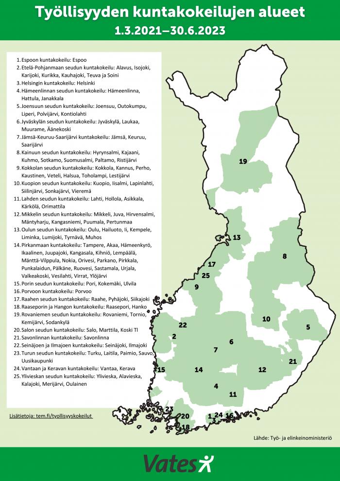 Suomen kartta, johon on merkitty kuntakokeilualueet.